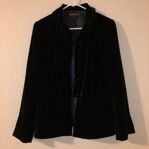 LAFAYETTE 148 NY Black Velvet Ruffle Trim Jacket 8